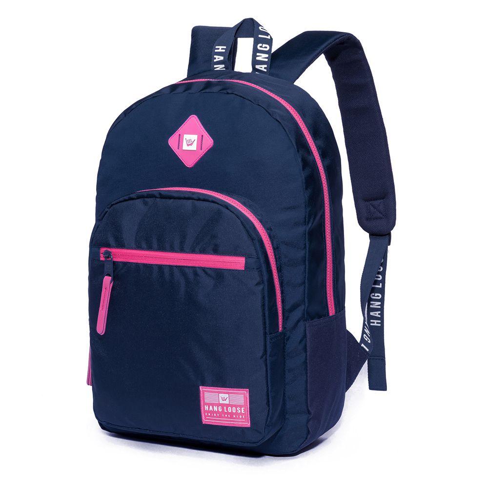Mochila Hang Loose Feminina Escolar Laptop Waki Azul C/ Rosa