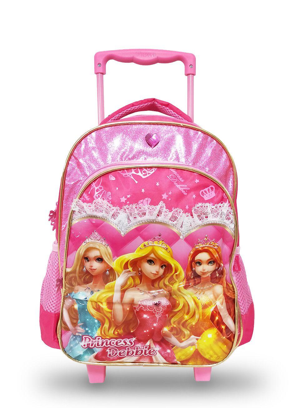 Mochila Infantil Feminina De Rodinhas Princesas Rosa Pink