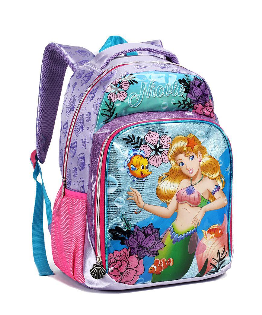Mochila Infantil Feminina Escolar Sereia Nicole 13904 Roxo