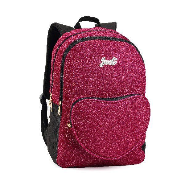 Mochila Juvenil Feminina Just Coração Brilhante Rosa Pink