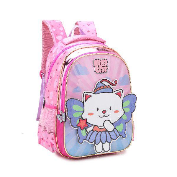 Mochila Menina Infantil Denlex 0347 Gatinha Lilly Cat Rosa