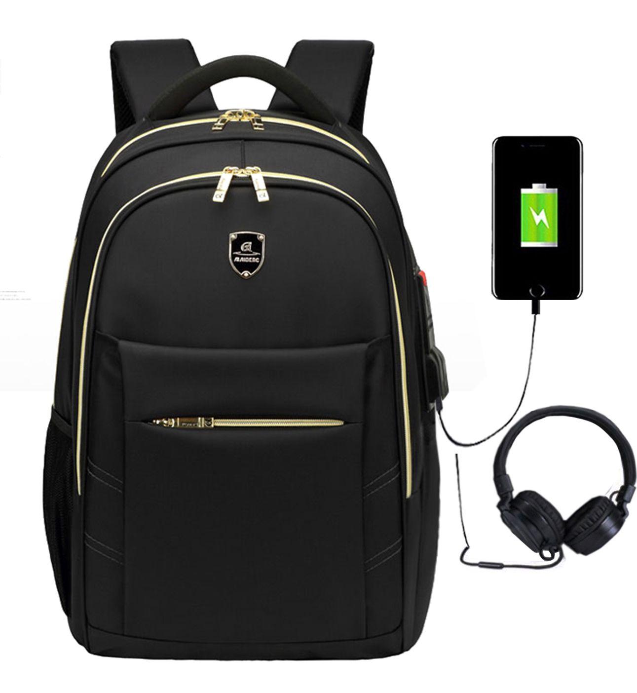 Mochila Notebook Escolar Saída USB Fone Impermeável M1801