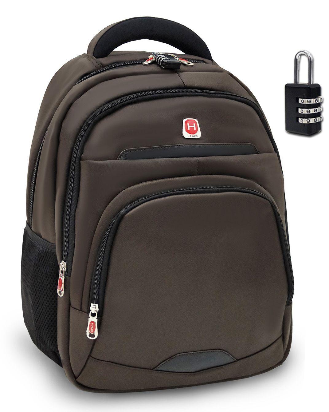 Mochila Notebook Hub H119 Reforçada 30L Com Cadeado Marrom