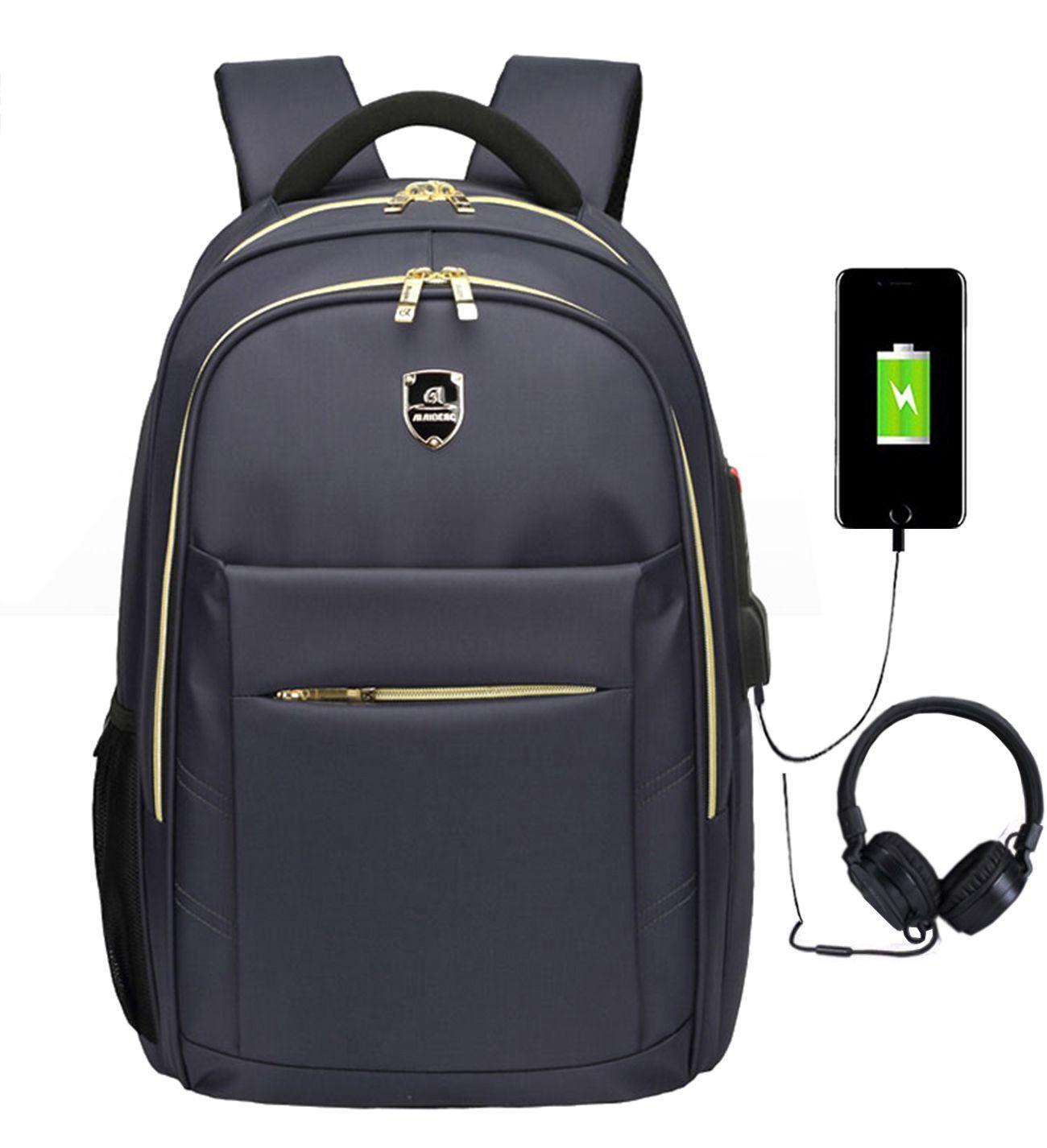 Mochila Notebook Impermeável Com Saída USB Fone 1801 Azul