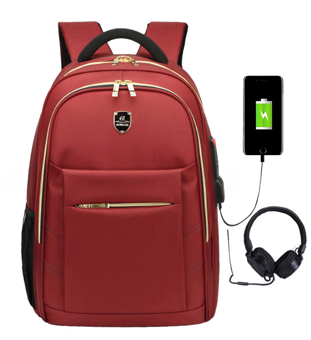 Mochila Notebook Saída USB Fone Impermeável M1801 Vermelho