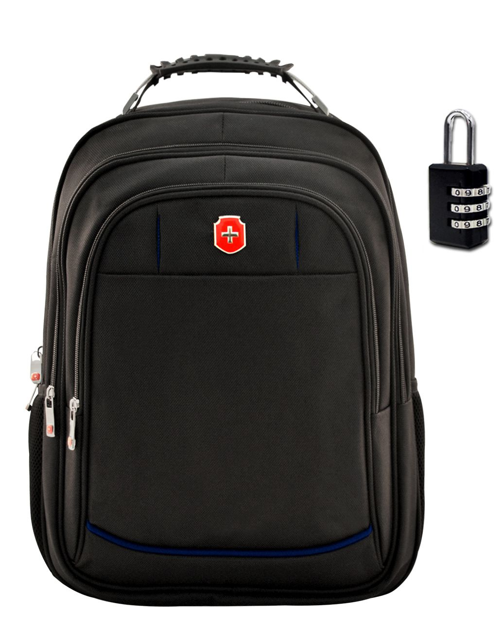 Mochila Notebook Swissland SL04001 C/ Cadeado Preta Com Azul