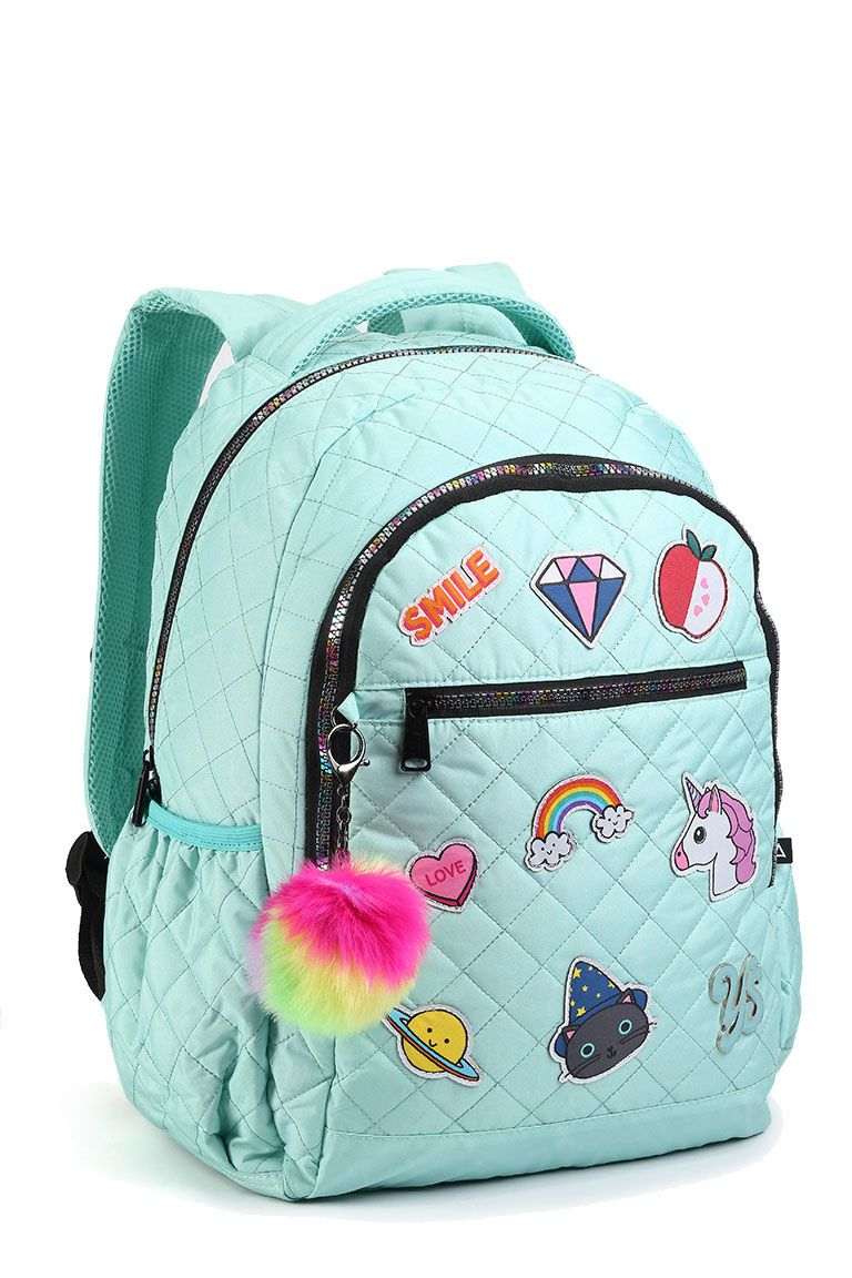 Mochila Patches Feminina M14498 Moda Pompom Colorida Acqua