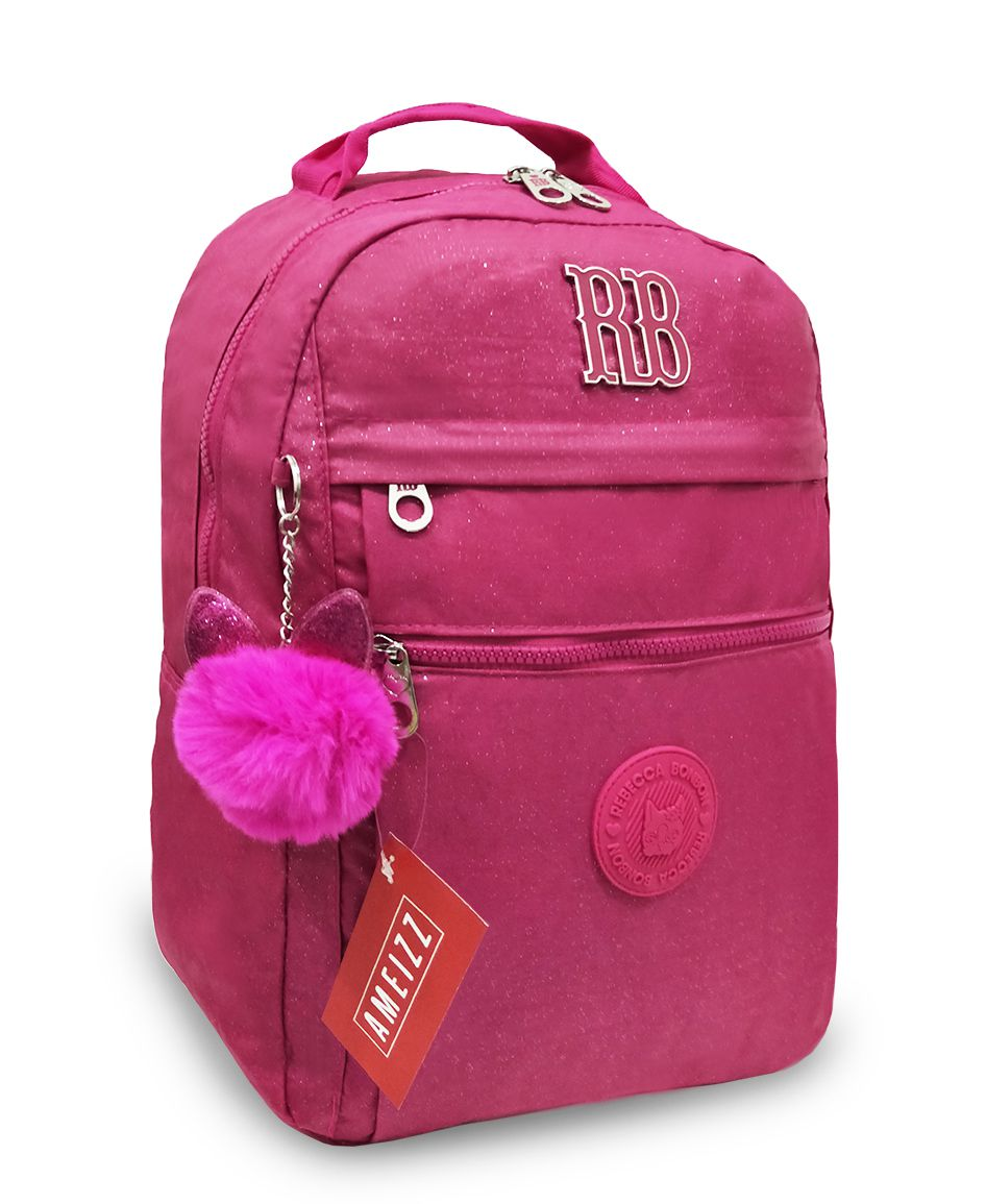 Mochila Rebecca Bonbon Crinkle Com Glitter RB2081 Rosa Pink