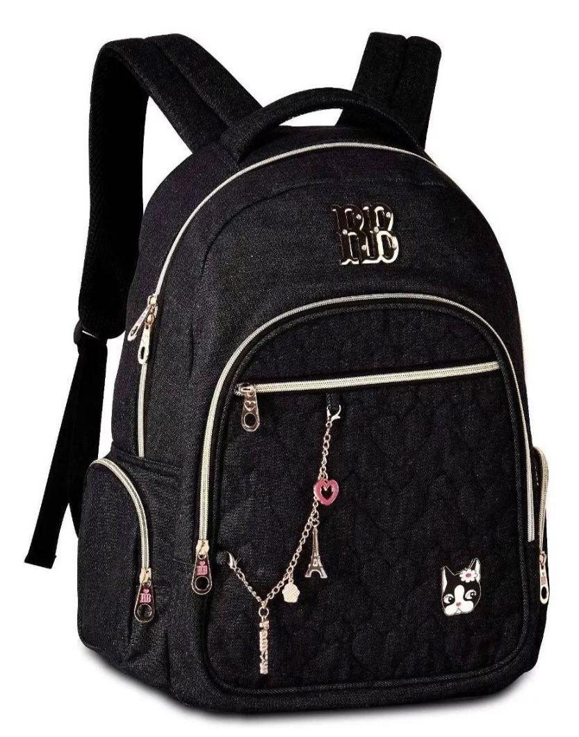 Mochila Rebecca Bonbon Escolar Notebook RB2088 Jeans Preta