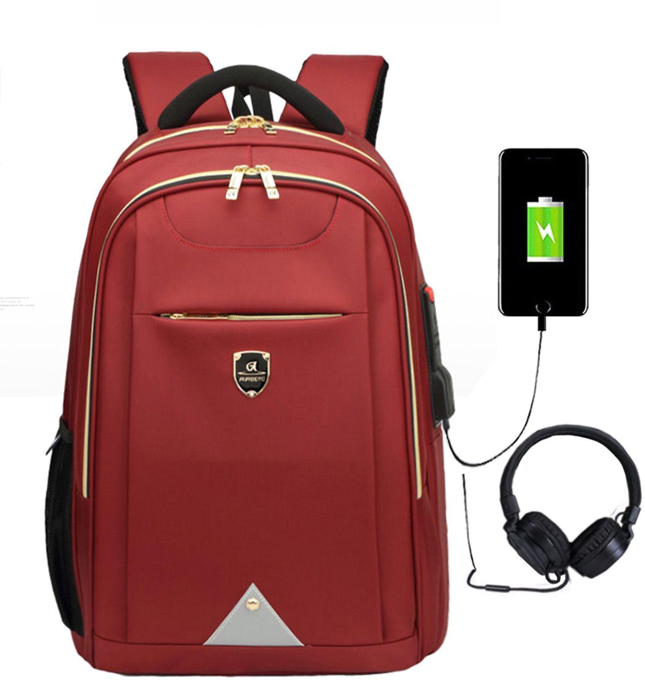Mochila Resistente Água Com Saída USB E Fone 1803 Vermelha