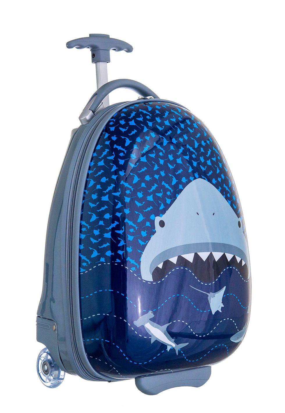 Mochila Rígida Dura Infantil Mala Viagem ABS Shark Tubarão