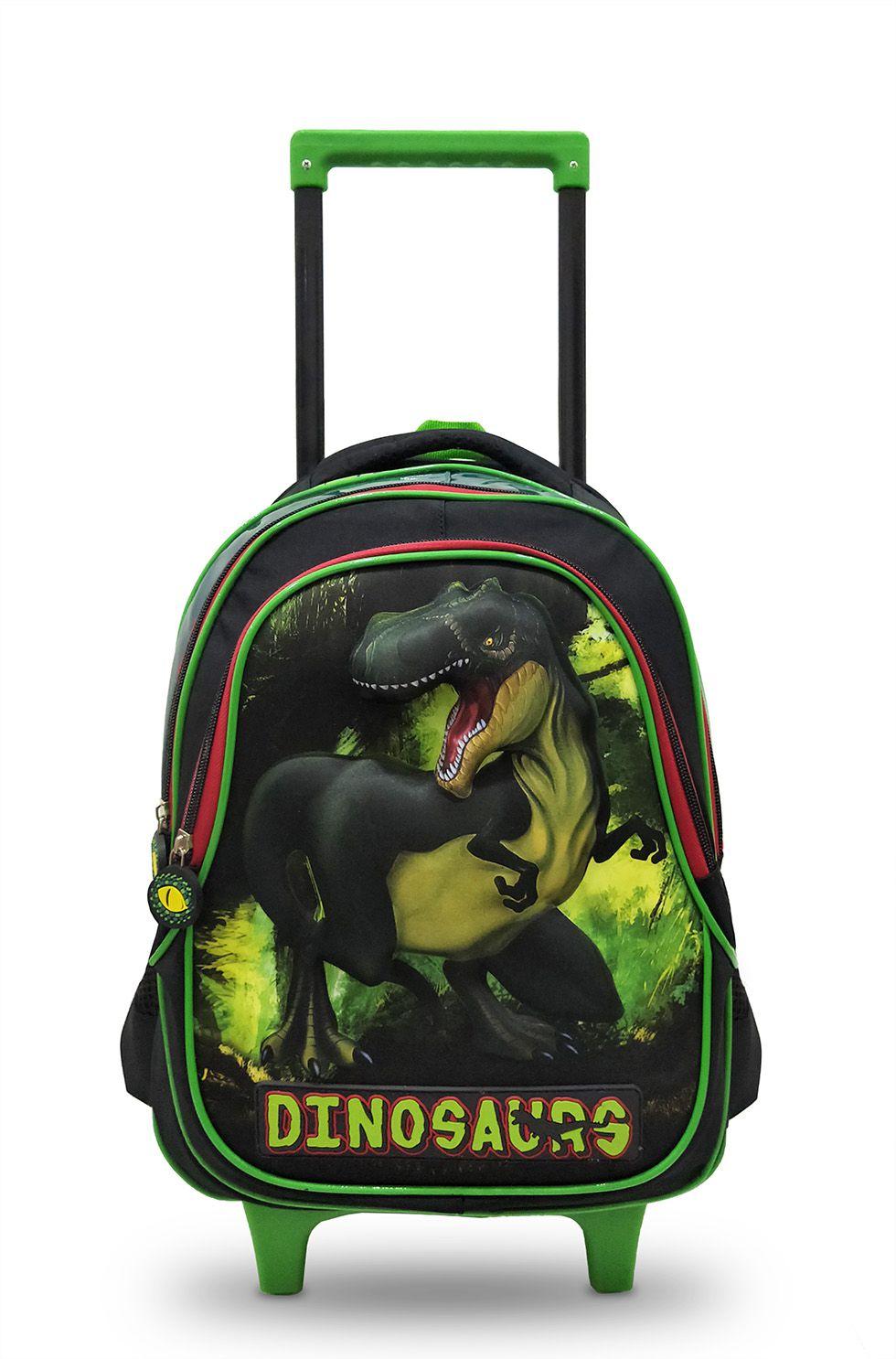 Mochila Rodinhas Escolar Infantil Masculino Dinossauro 3D