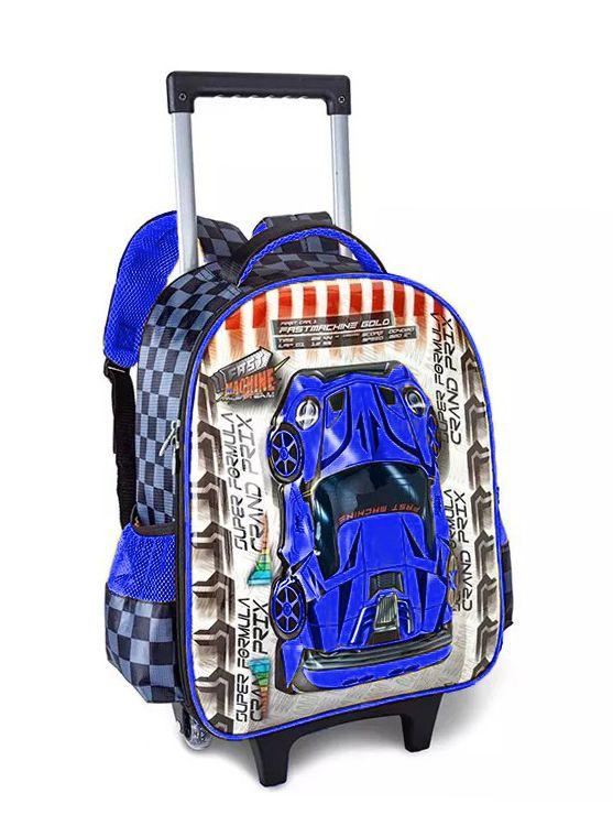 Mochila Rodinhas Infantil Carrinho Removível 7168K Azul 3D
