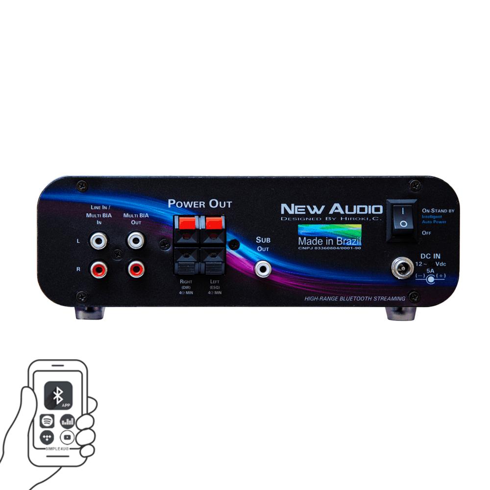 Amplificador Receiver de Áudio Stereo Streaming Bluetooth BIA100 New Audio
