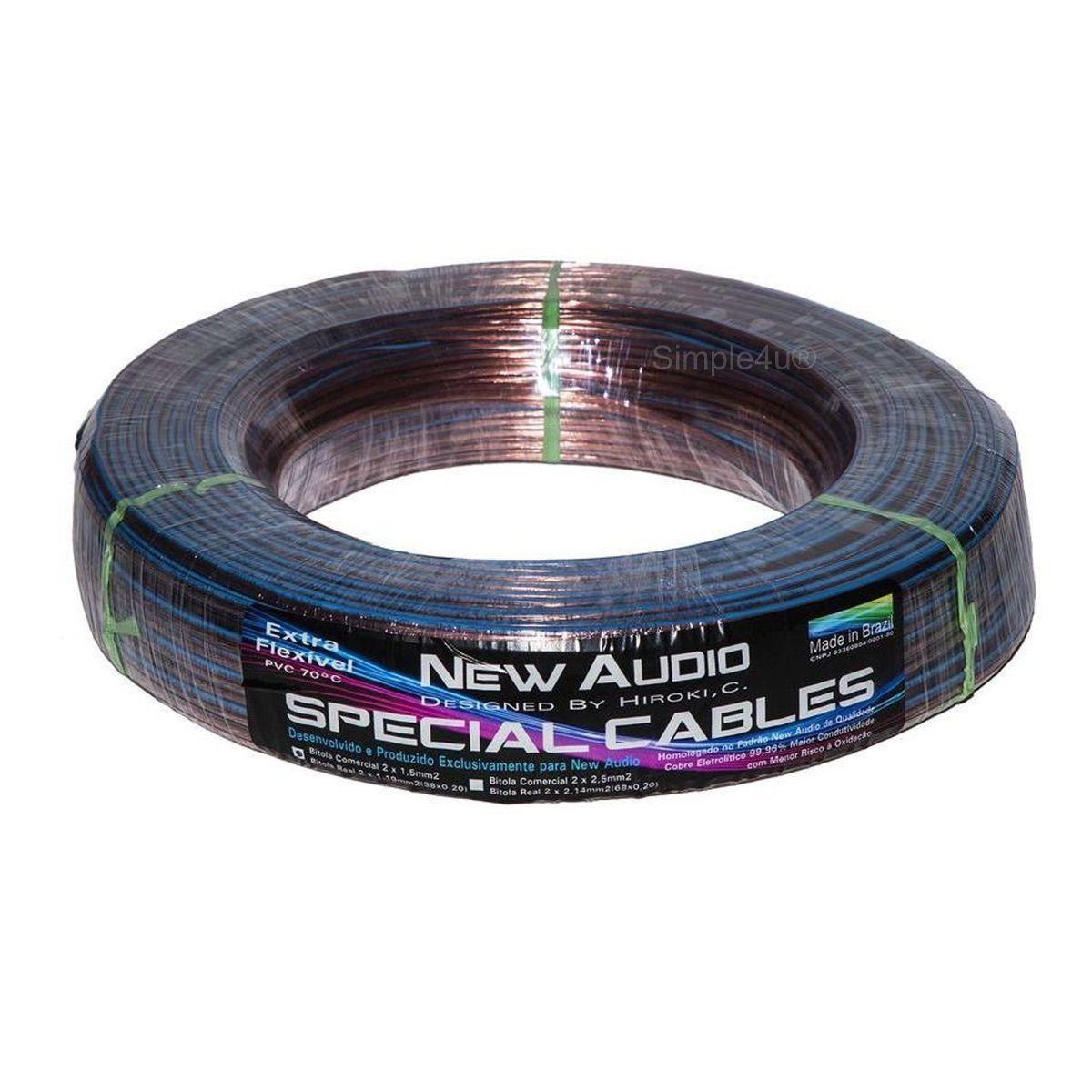 Cabo Polarizado Cristal P/ Caixa Acústica de Som Special Cables 2x1,50mm2 New Audio (100 MT)
