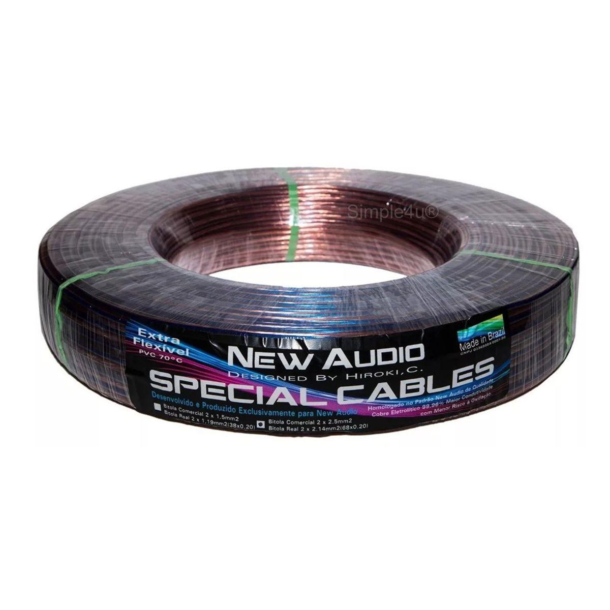 Cabo Polarizado Cristal P/ Caixa Acústica de Som Special Cables 2x2,50mm2 New Audio (100 MT)