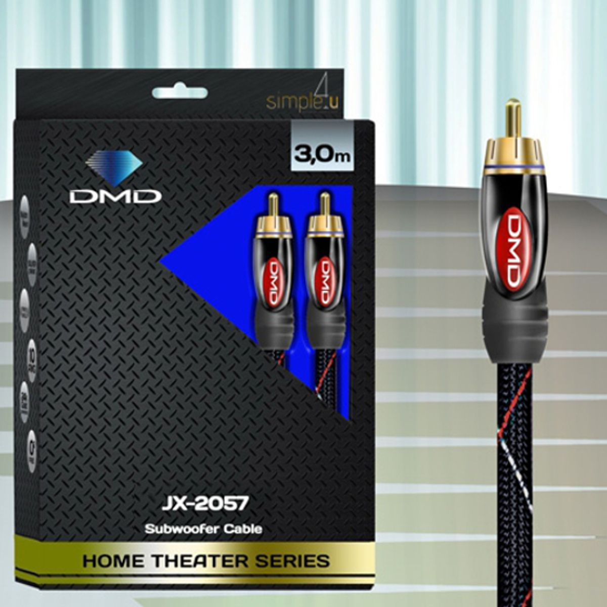 Cabo RCA Mono P/ Subwoofer DMD Diamond Cable JX-2057 (3m)