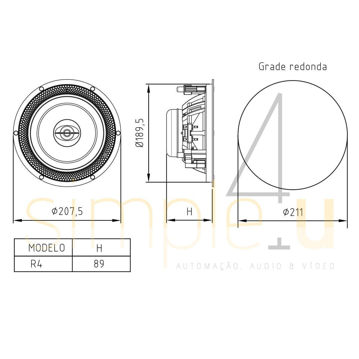 Caixa Acústica de Embutir Plana C/ Tela Redonda 60W RMS R4 BSA (PAR)