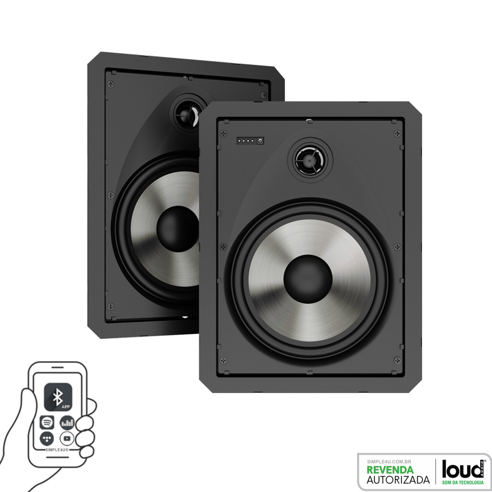 Caixa de Embutir no Gesso Borderless Ativa C/ Bluetooth LR6-BT-A-BL KIT Loud