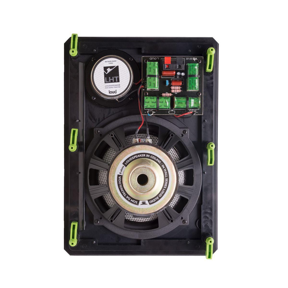Kit 5.0.2 Dolby Atmos Caixa Acústica de Embutir LHT-100 BL + LHT TW-100 BL + CLK6-120 BL Loud