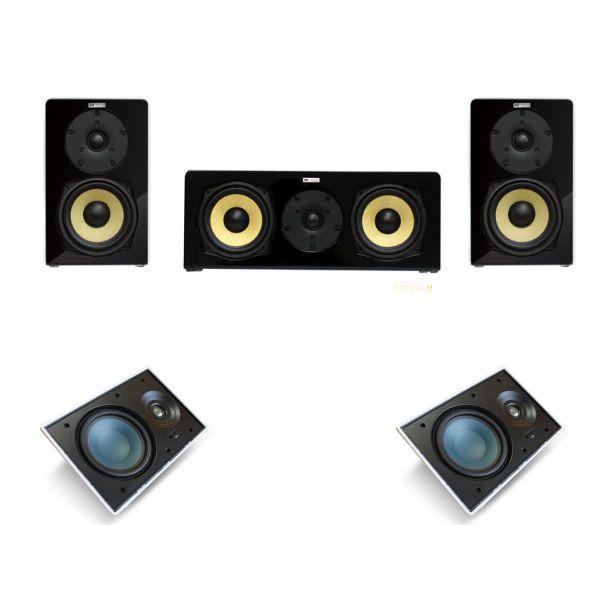 Kit 5.0 Caixa Acústica Bookshelf BSF-70 / C-140 + Caixa de Embutir no Gesso LR-E100 AAT