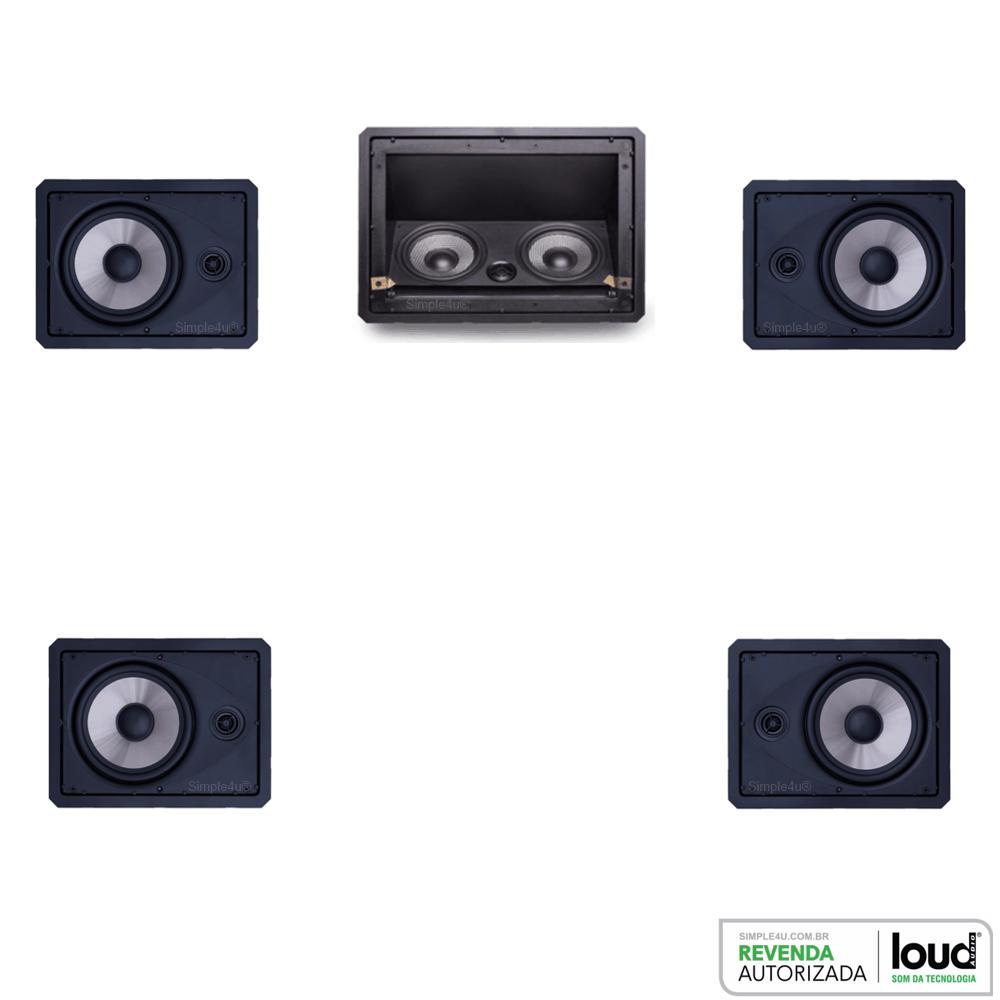 Kit 5.0 Caixa Acústica de Embutir no Gesso LHT-100 BL + LR6-100 BL Loud