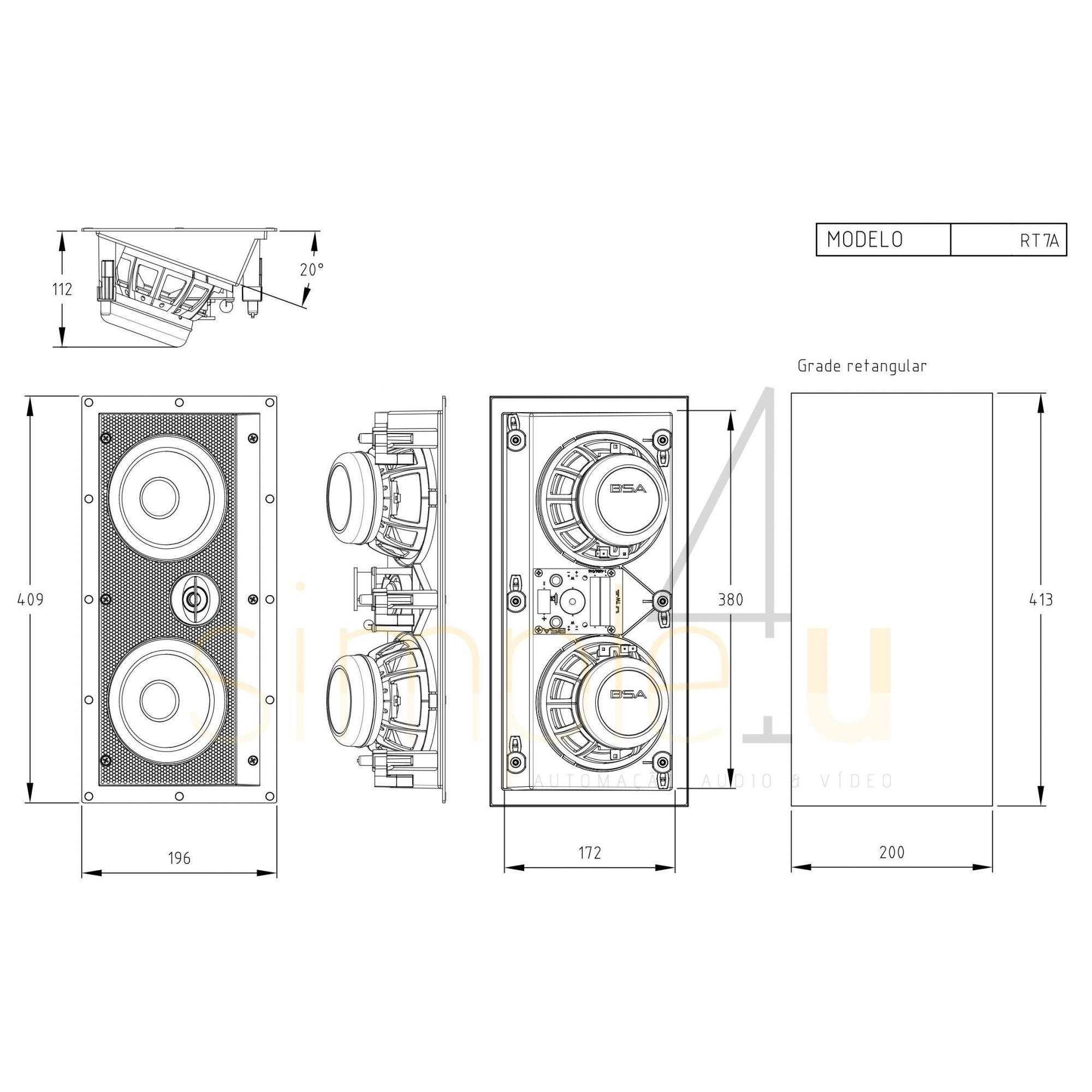 Kit 5.0 Caixa de Embutir no Gesso RT7A + RT7 BSA