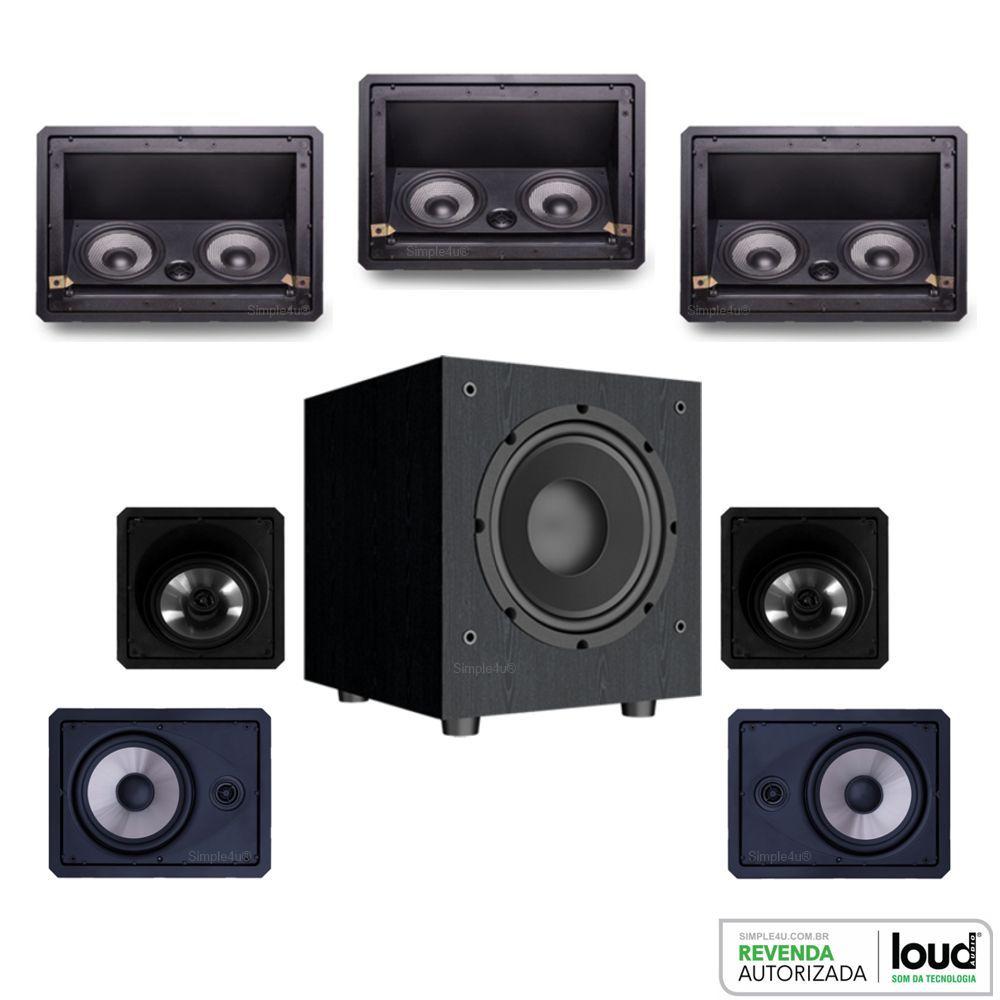 Kit 5.1.2 Dolby Atmos Caixa Acústica de Embutir LHT-100 BL + LR6-100 BL + SL6-120 BL + Subwoofer Ativo 8 SW-801 Loud