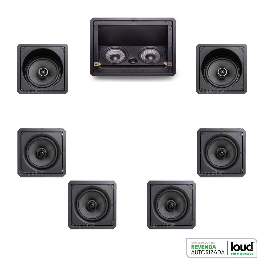 Kit 7.0 Caixa de Embutir no Gesso LHT-100BL + CLK6-120 BL + CSK6-120 BL Loud
