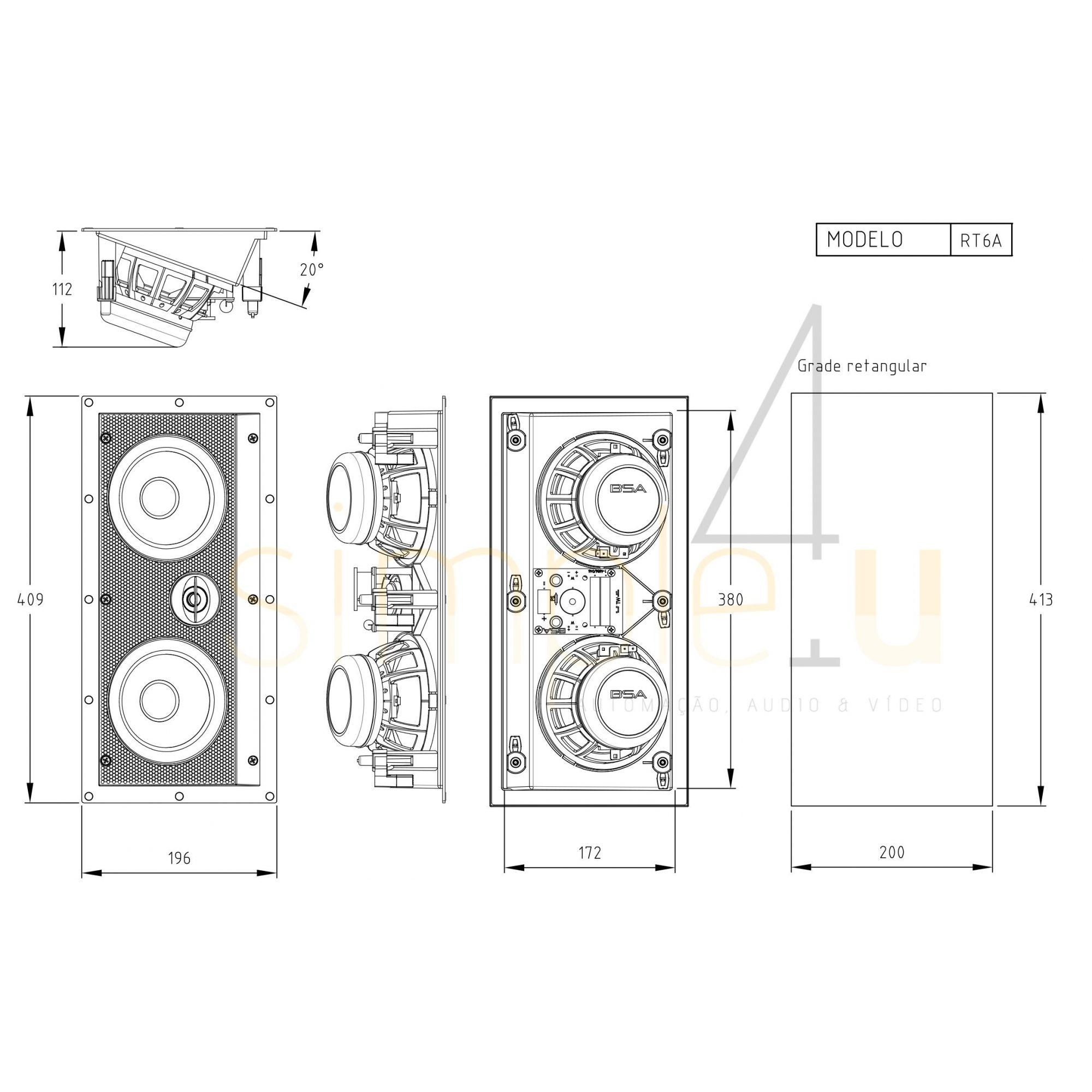 Kit 7.0 Caixa de Embutir no Gesso RT6A + RT6 BSA