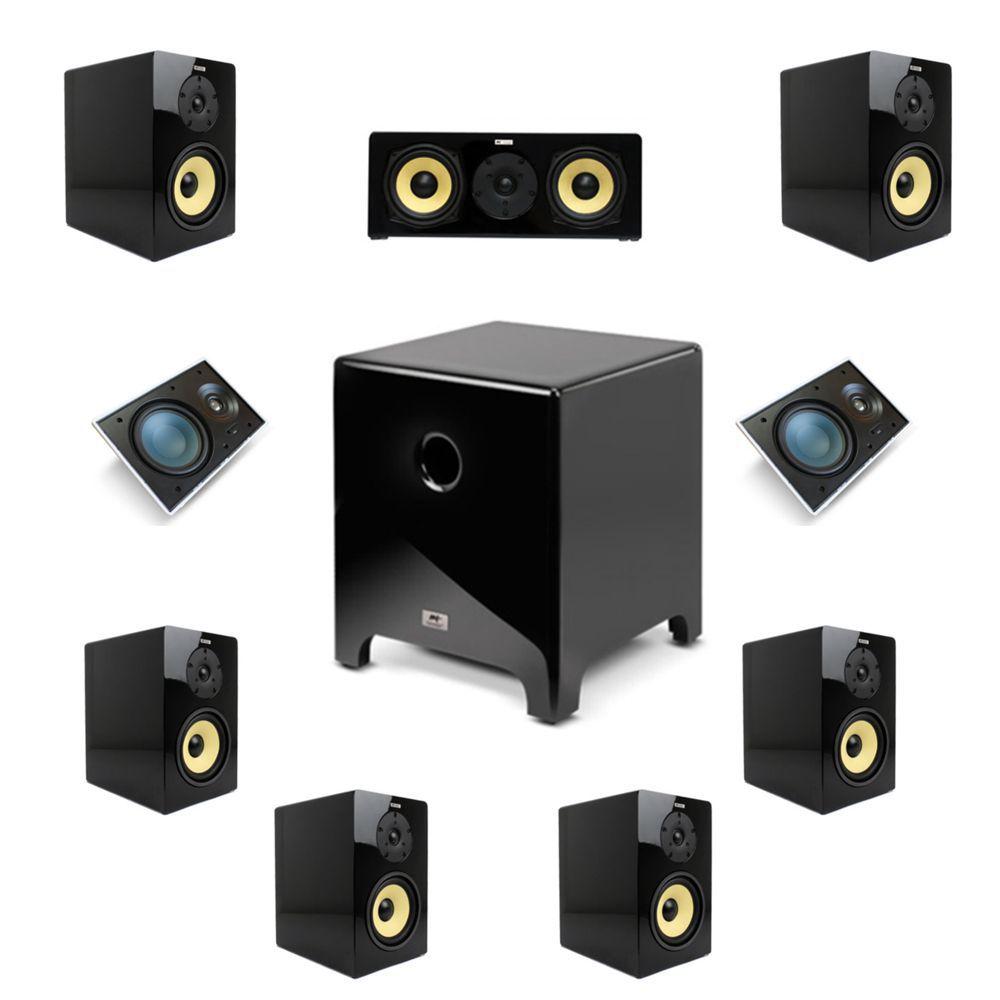 Kit 7.1.2 Dolby Almos Caixa Acústica Bookshelf + Caixa de Embutir no Gesso + Subwoofer Cube Modern 10 AAT