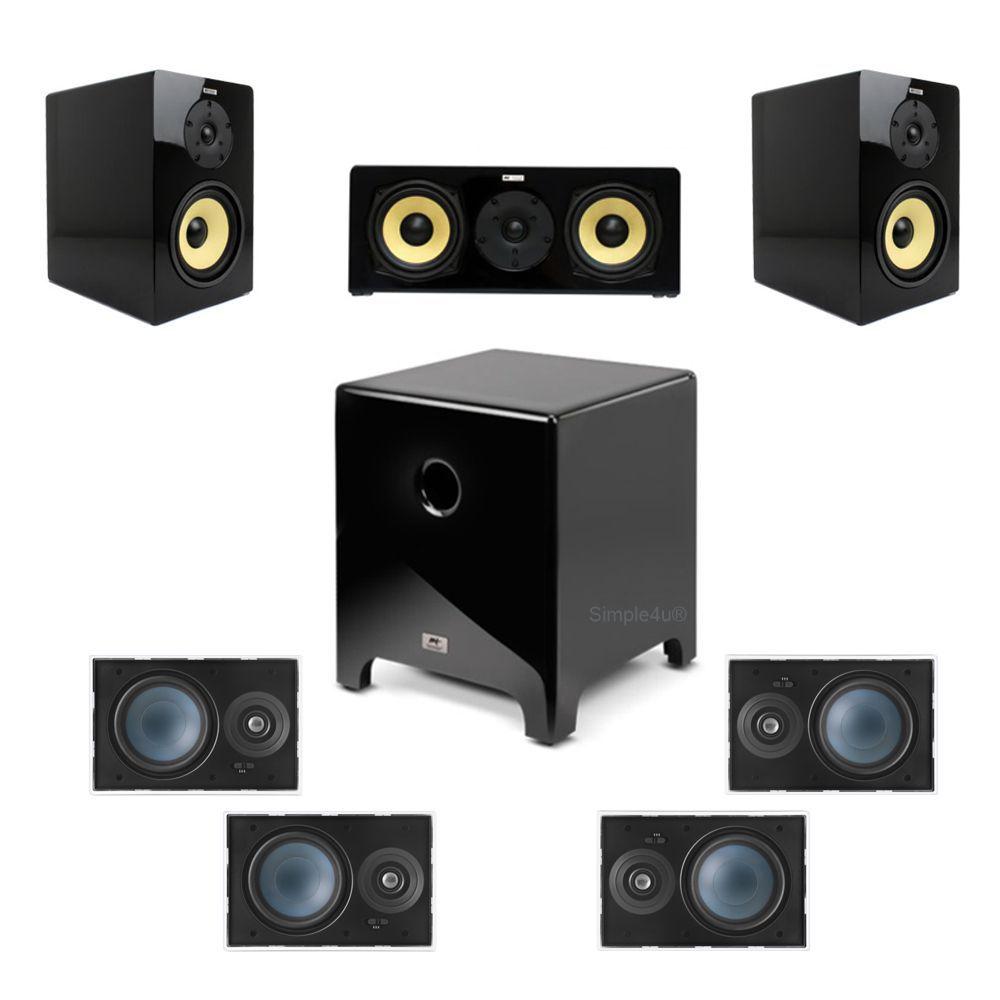 Kit 7.1 Caixa Acústica Bookshelf BSF-100 + Caixa de Embutir LR-E100 + Subwoofer Cube Modern 8 AAT