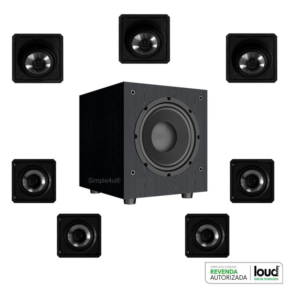 Kit 7.1 Caixa de Embutir no Gesso SL6-120BL + SQ6-120BL + Subwoofer SW-801 Loud
