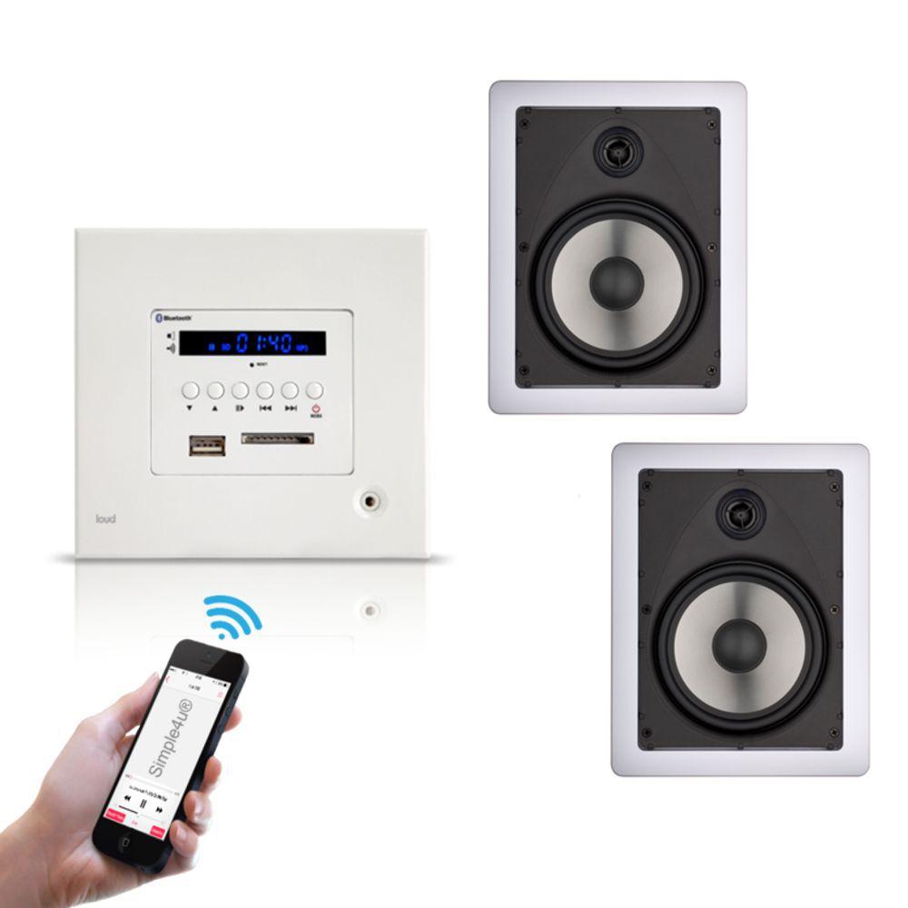 Kit Amplificador de Parede Bluetooth LAC LX BT + 2 Caixas Acústicas de Embutir LR6-100 Loud