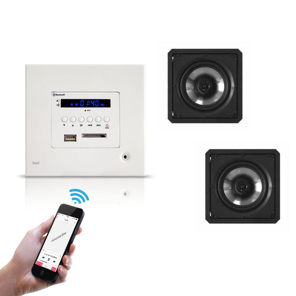Kit Amplificador de Parede Bluetooth LAC LX BT + 2 Caixas Acústicas de Embutir SQ6-60 BL Loud
