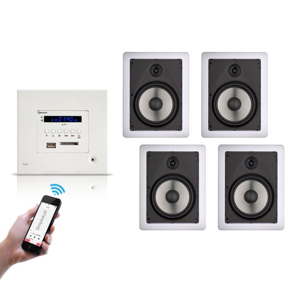 Kit Amplificador de Parede Bluetooth LAC LX BT + 4 Caixas Acústicas de Embutir LR6-100 Loud