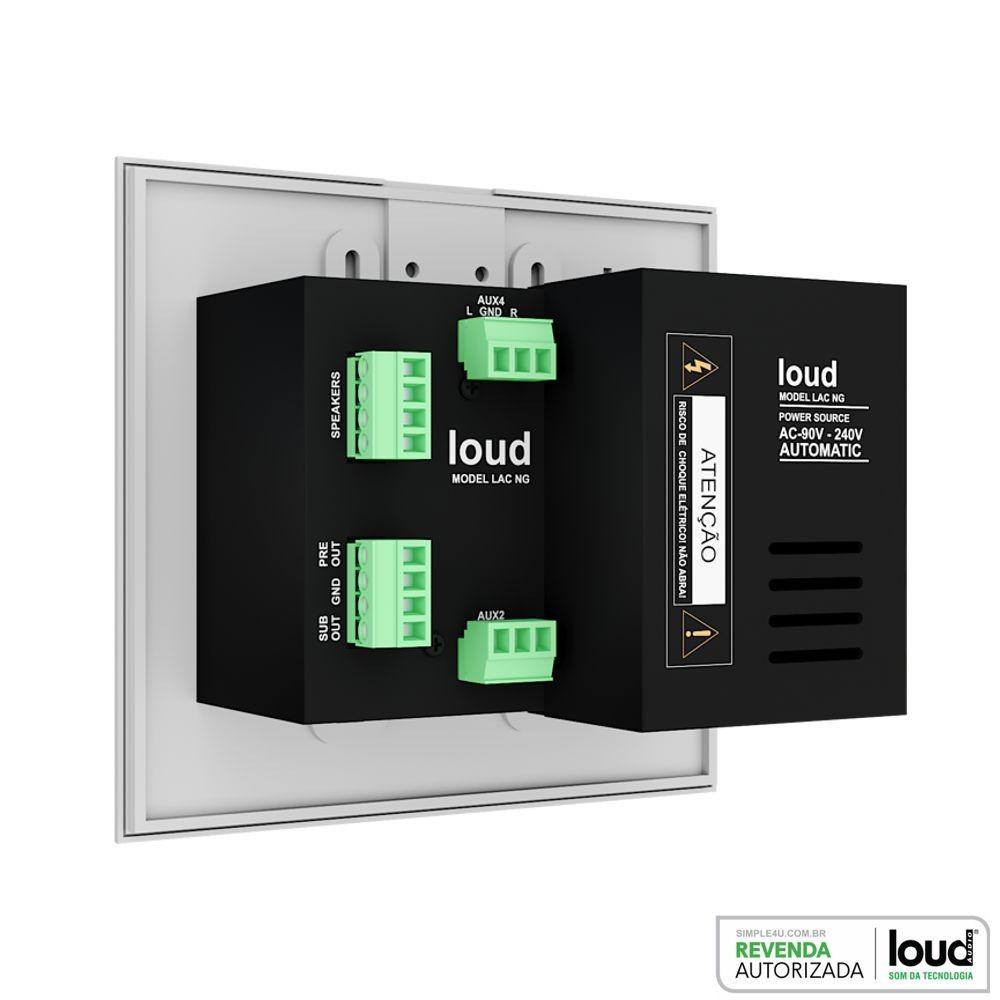 Kit Amplificador de Parede Bluetooth LAC NG + 4 Caixas Acústicas de Embutir LR6-PASS BL Loud