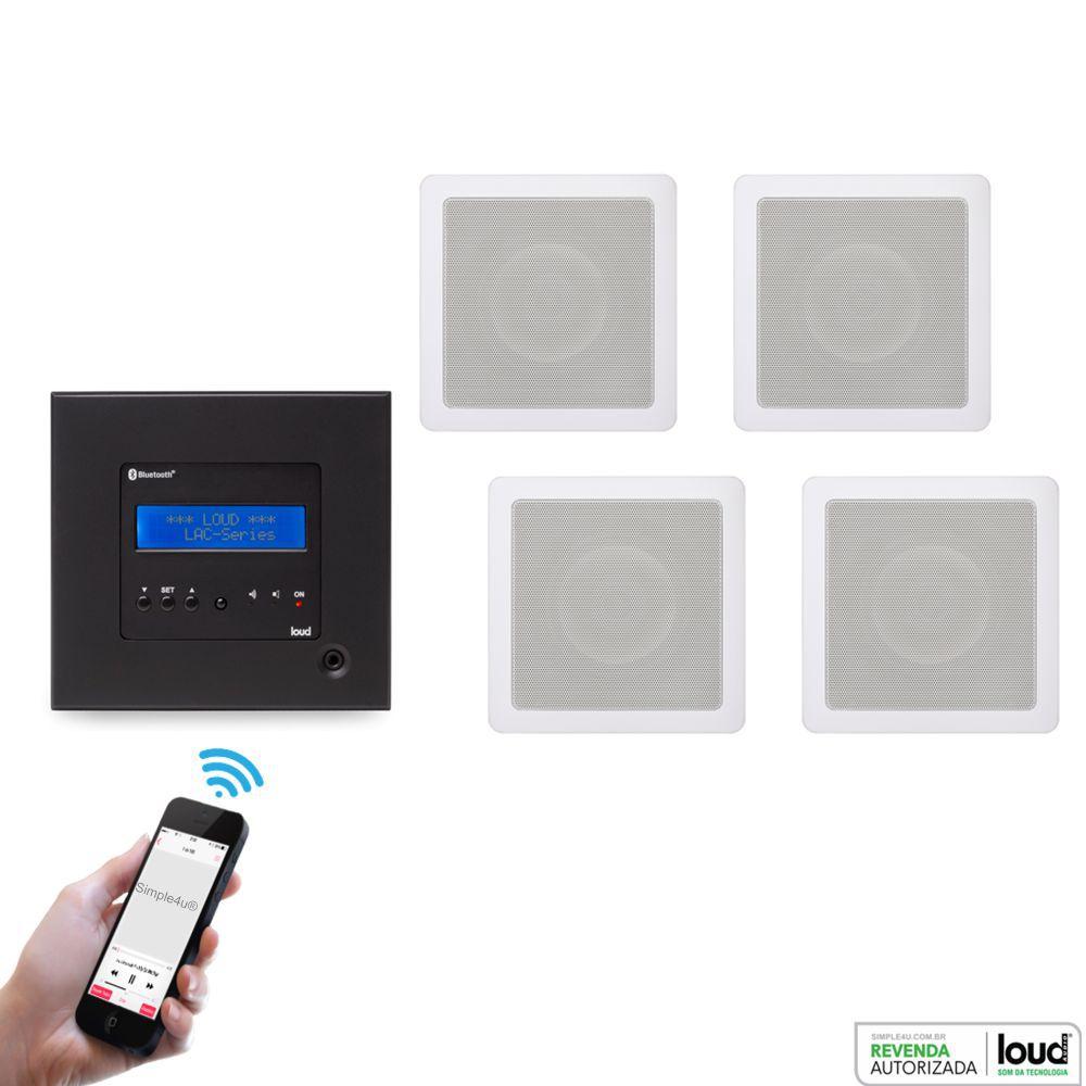 Kit Amplificador de Parede Bluetooth LAC NG BLACK + 4 Caixa Acústica de Embutir SQ5-50 Loud