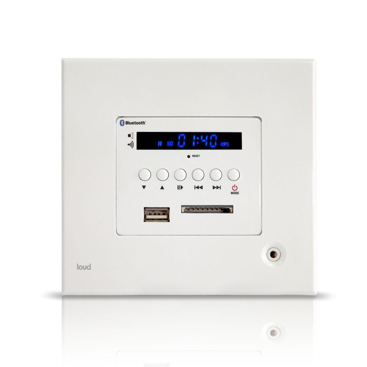 Kit Amplificador de Parede Bluetooth LAC LX BT + 4 Caixas Acústicas de Embutir SQ5-50 Loud
