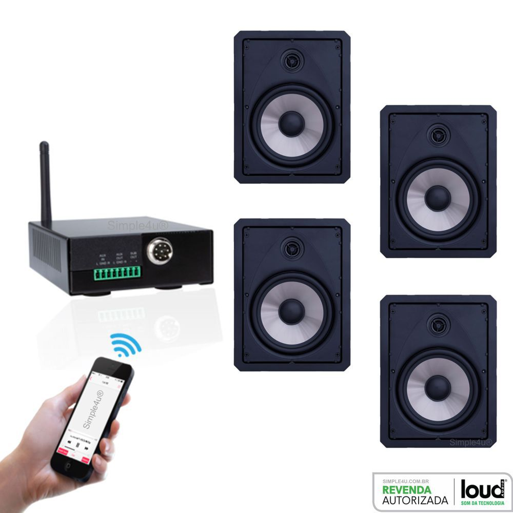 Kit Caixa de Embutir no Gesso LR6-120 BL C/ Amplificador Bluetooth APL-80 BT Loud