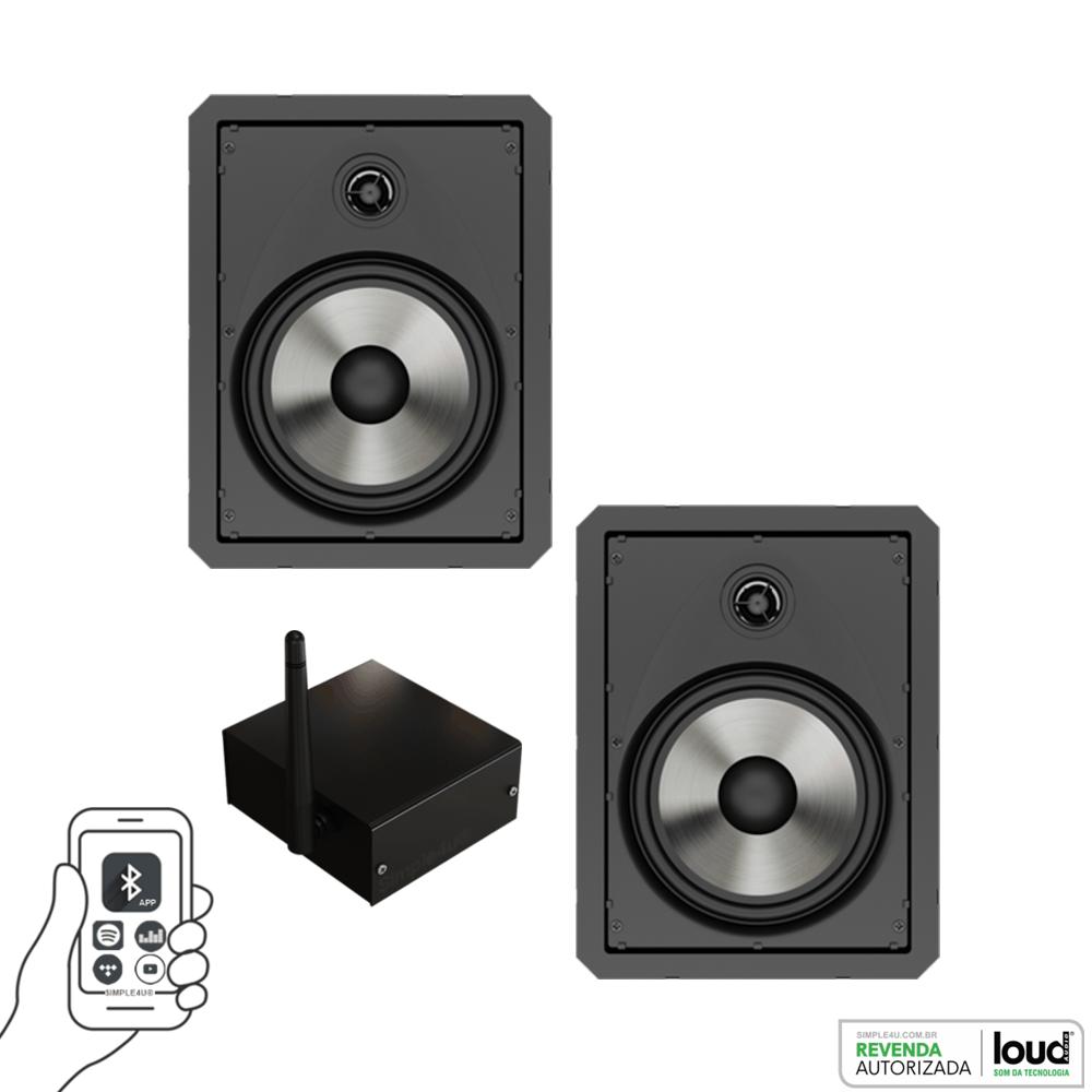 Kit Caixa de Embutir no Gesso LR6-PASS BL C/ Bluetooth Áudio Streaming EASY LA-BT-2 Loud