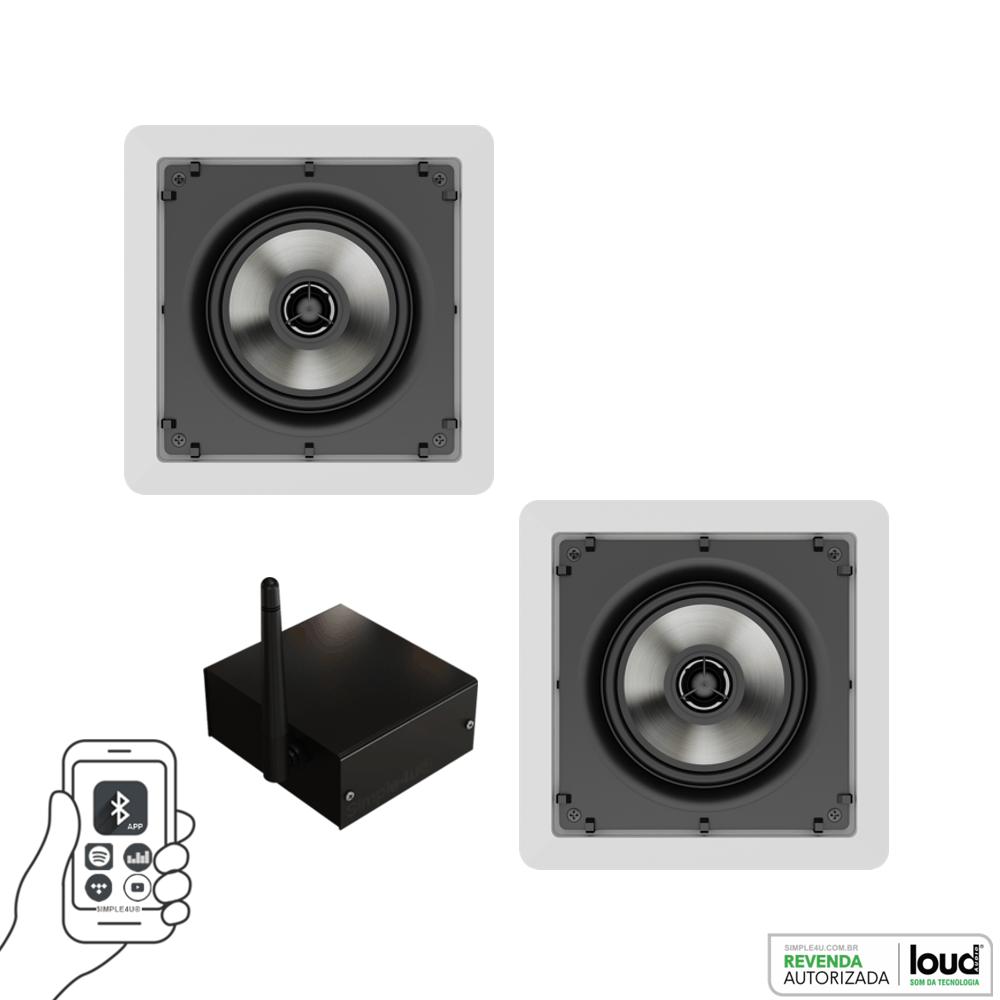 Kit Caixa de Embutir no Gesso SQ5-50 C/ Bluetooth Áudio Streaming EASY LA-BT-2 Loud