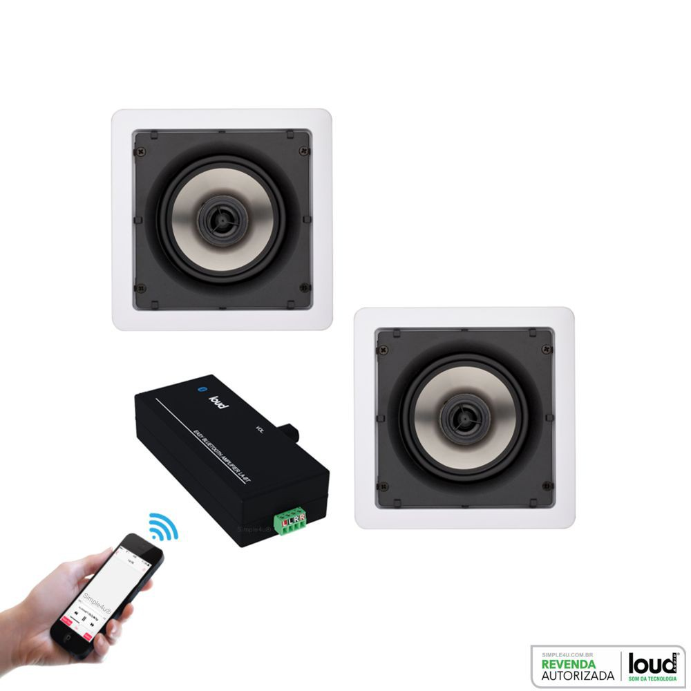 Kit Caixa de Embutir no Gesso SQ5-50 C/ Bluetooth Áudio Streaming EASY LA-BT Loud
