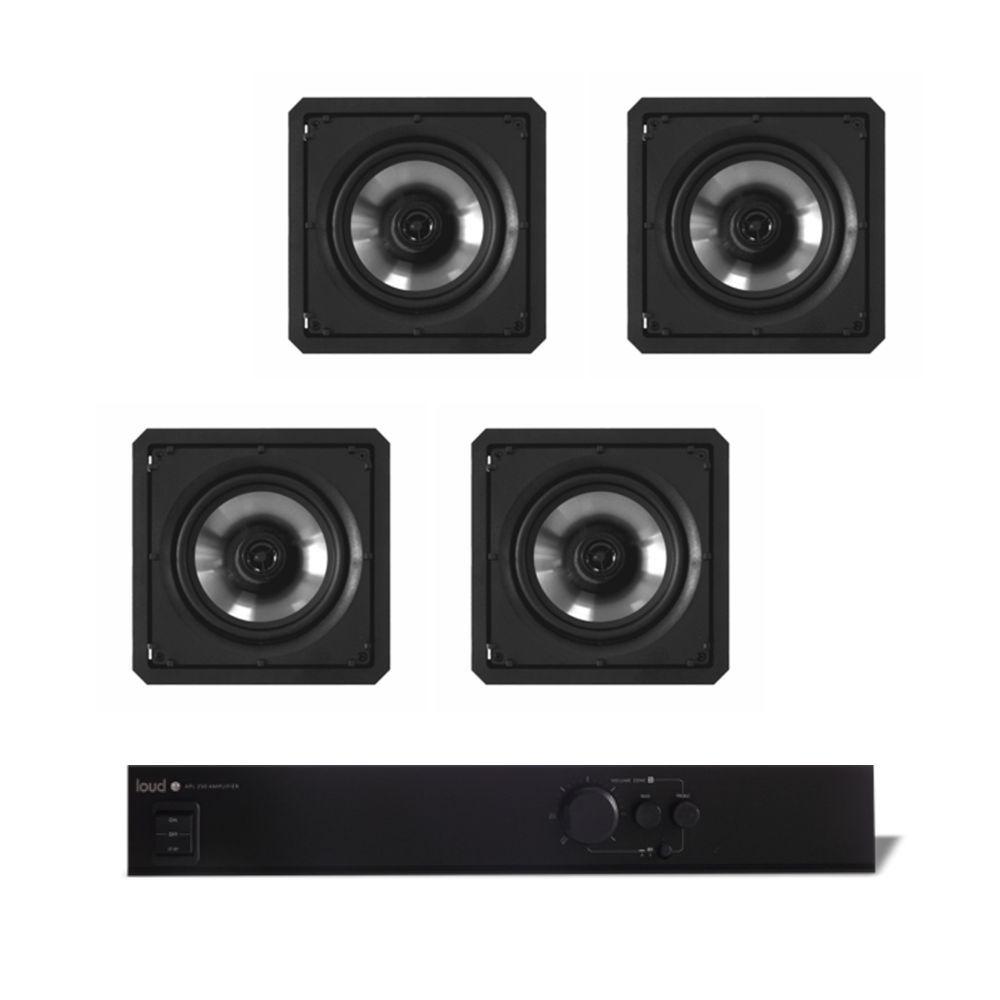 Kit Som Ambiente Amplificador 1 Zona APL-250 + 4 Caixas de Embutir SQ6-60 Loud