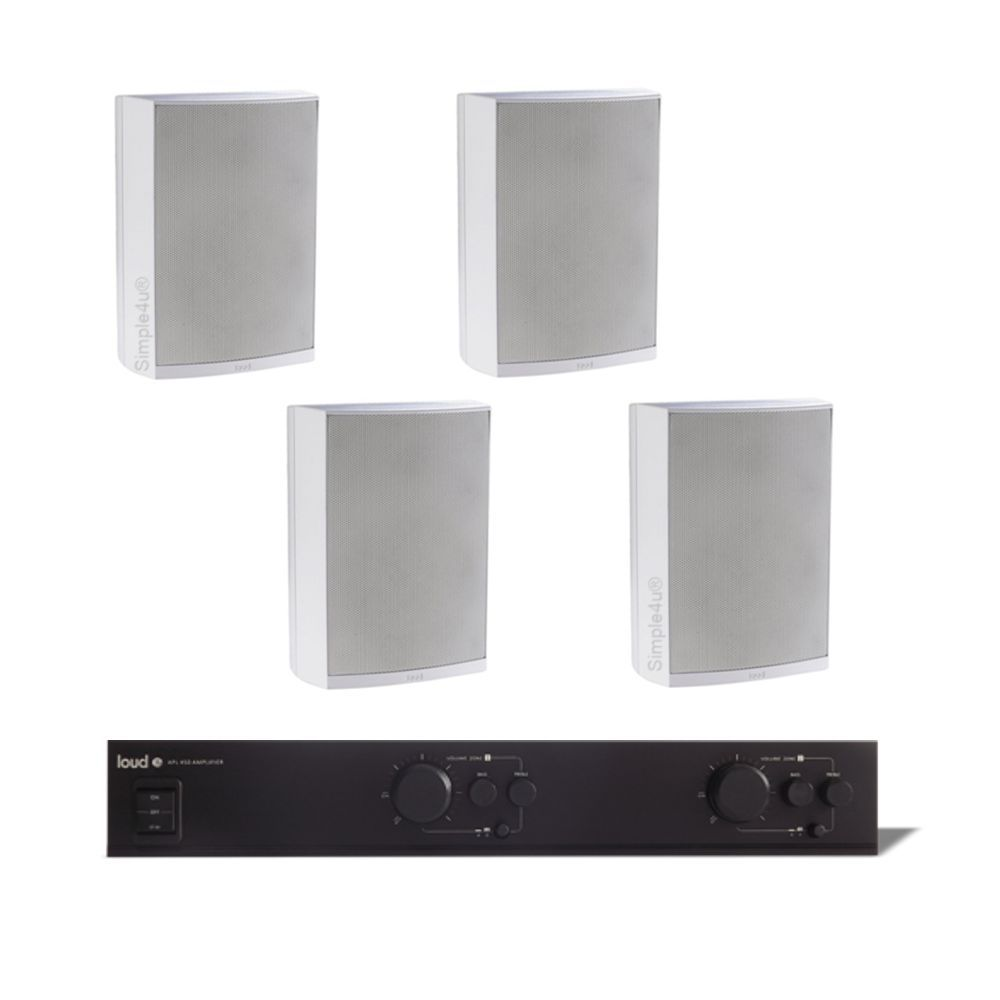 KIT SOM AMBIENTE AMPLIFICADOR MULTI-ROOM 2 ZONAS APL-450 + 4 CAIXAS IN/OUTDOR DE SOBREPOR LB5-80 LOUD
