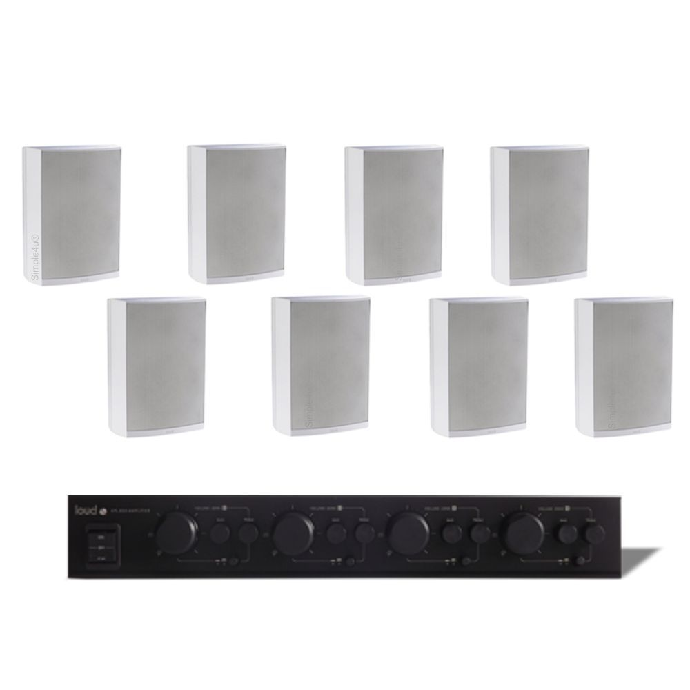 KIT SOM AMBIENTE AMPLIFICADOR MULTI-ROOM 4 ZONAS APL-850 + 8 CAIXAS IN/OUTDOR DE SOBREPOR LB5-80 LOUD