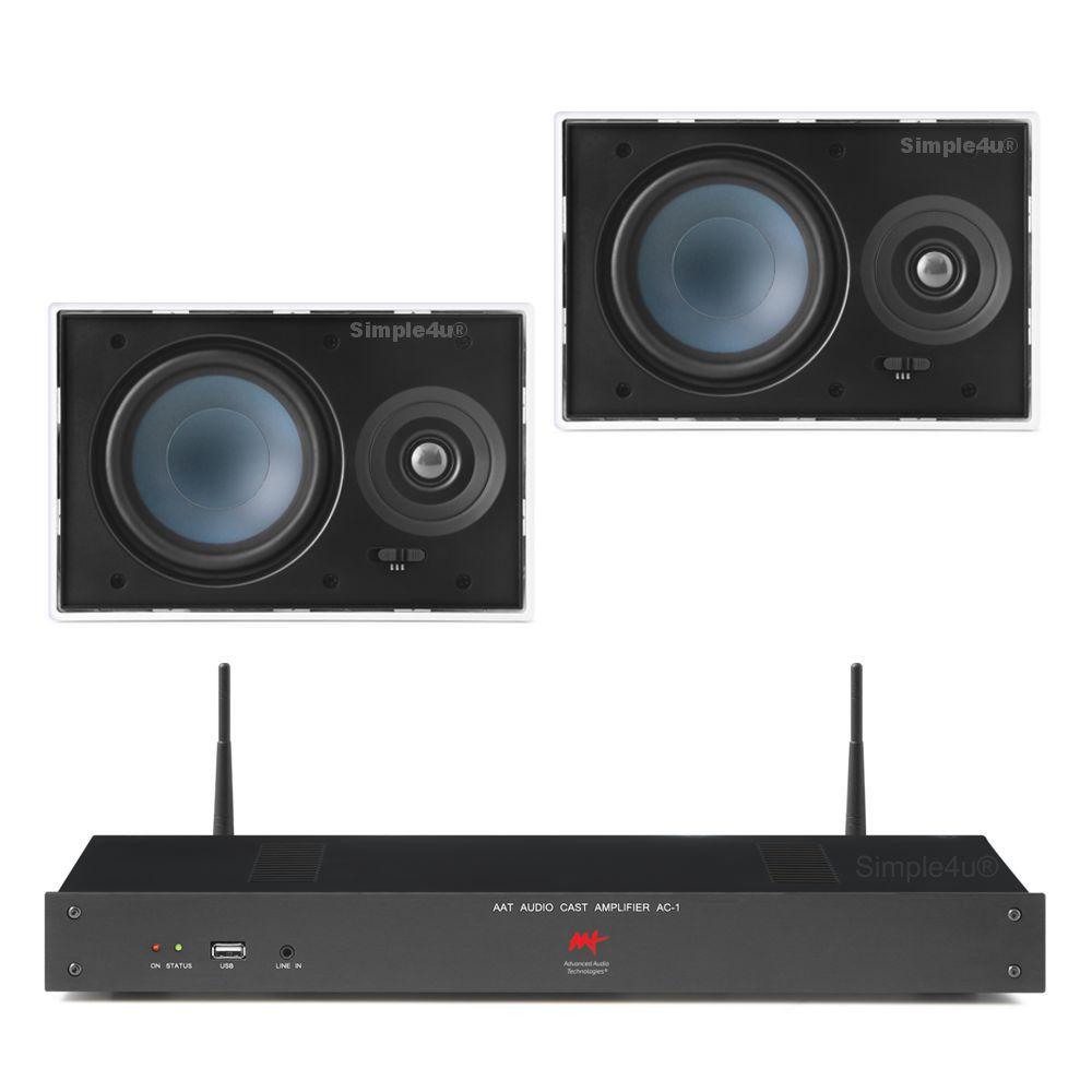 Kit Som Ambiente Amplificador Multimídia Wi-Fi 1 Zona AC-1 AAT + 2 Caixa de Embutir LR-E100 AAT