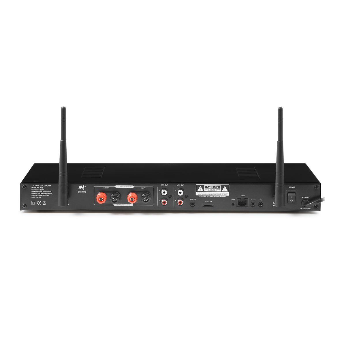 Kit Som Ambiente Amplificador Multimídia Wi-Fi 1 Zona AC-1 AAT + 4 Caixa de Embutir LR-E100 AAT