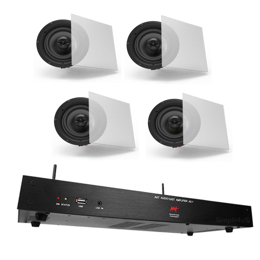 Kit Som Ambiente Amplificador Multimídia Wi-Fi 1 Zona AC-1 AAT + 4 Caixas de Embutir S3 BSA