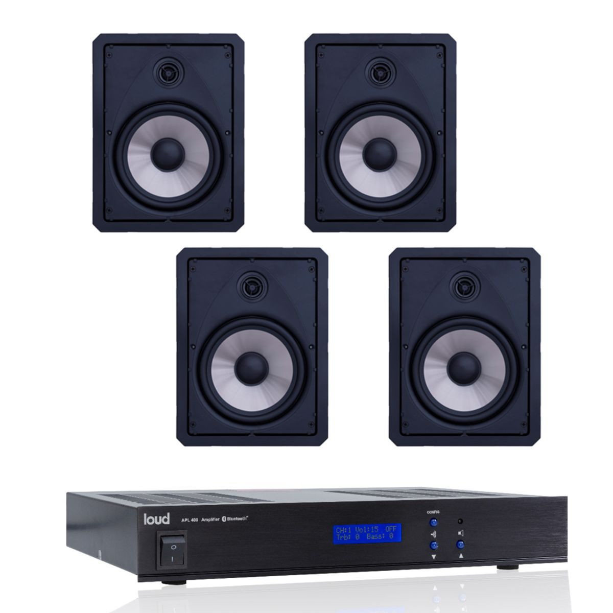 Kit Som Ambiente Amplificador Streaming Bluetooth APL-400 BT + 4 Caixas de Embutir LR6-120 BL Loud